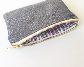 Ecofriendly coin purse, Navy Organic Hemp and purse Plumes Lavender Vanilla metal zip PS002