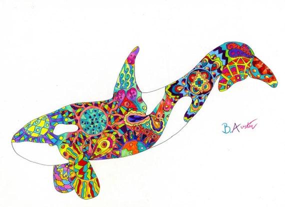 Orca Wall Art - Rainbow Killer Whale Art Print