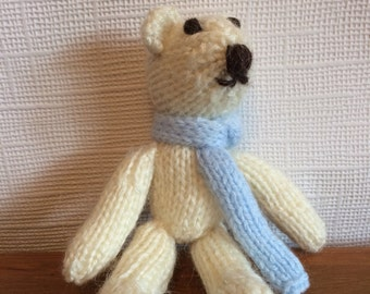 Hand knitted teddy bear, knitted teddy, knitted bear, teddy with scarf,bear with scarf