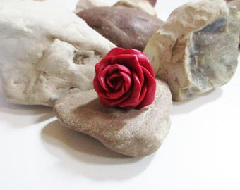 Rose ring Red rose Pearly red rose ring Polymer clay Handmade Wonderful gift for her for woman for girl Unique gift