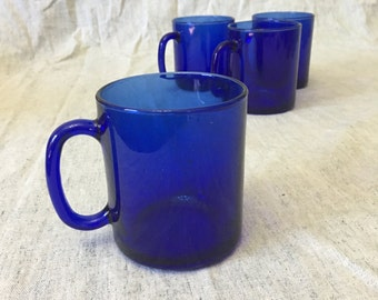 Vintage Arcoroc Blue Saphir Glass Mugs, Set of 4