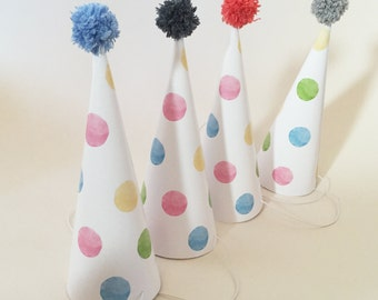Party hat with PomPom - birthday - party - dots