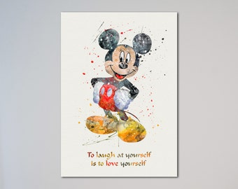 Mickey Mouse poster Art Print Watercolor Print Nursery Art Quote Motivational Quote Inspirational  Wall Hanging Decor