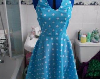 1950s Pretty Sailor-Girl Nautical Polka-Dot Swing Dress with Halterneck, Jive, Jitterbug, Rockabilly, Lindy Bop, Land Girl, Marilynx