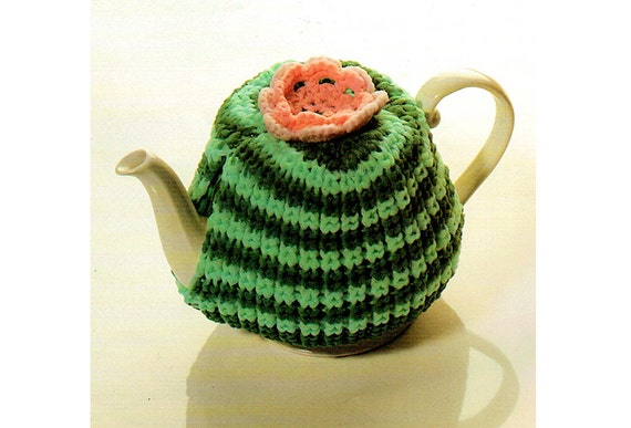 Novelty Tea Cosy Knitting Patterns : PDF Kitsch Granny Rose Stripey Tea Cosy Knitting & Crochet Pattern Home d...