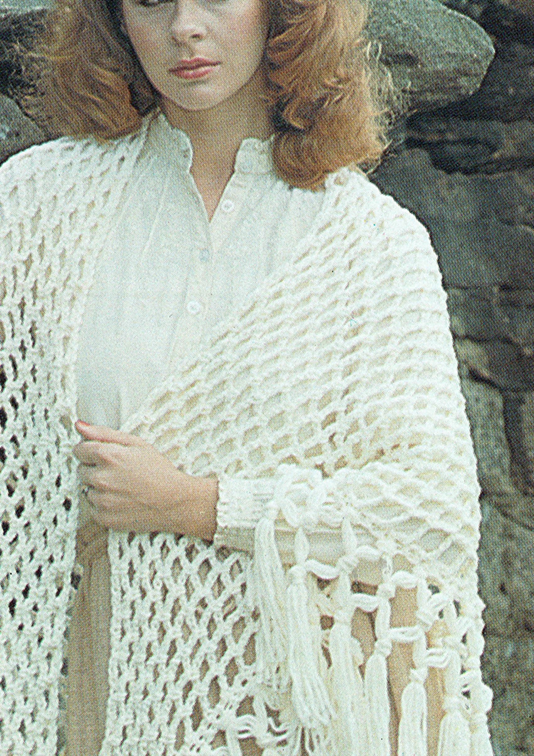 Pdf Vintage Womens Ladies Romantic Fringe Shawl Irish Crochet Pattern Wedding Easy