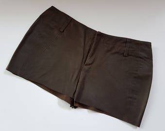 Suede Leather Chocolate Brown Mini Skirt