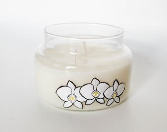 Sea Salt and Orchid Candle/ 8oz 2 wick/ Natural Soy Wax/ Refillable/ Zero Waste/ Handpainted/ spring flower scent/ Mother's Day Gift