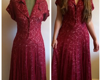 Vintage 40s burgundy lace dress - S - gown