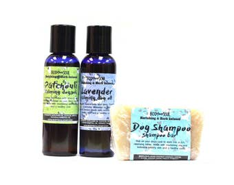 Natural Dog Care Set- Calming Dog Oils and Dog Shampoo Bar