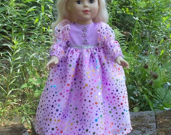 "18"" purple doll gown, princess doll gown, purple rainbow polka dotted princess doll gown, floor length doll gown, long sleeved doll gown"