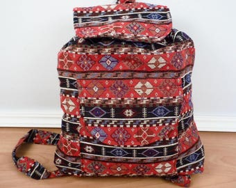 Hand Woven Red Patterned Backpack Hmong Hill Tribe Fabric Rucksack Festival Bag Boho Cotton Patterned Backpack