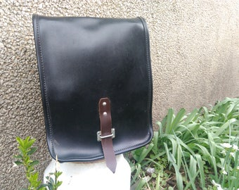 Vintage Black Military Bag / Vintage  Messenger Bag /  Officer Bag / Faux Leather Officer Bag / Military Crossbody Bag /  Commander Bag