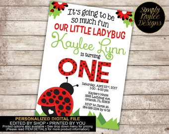 Ladybug Birthday Invitation - Spring Birthday Invitation