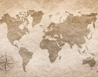 Old Map Backdrop - rustic map, newborn, toddler - Printed Fabric Photography Background G1524