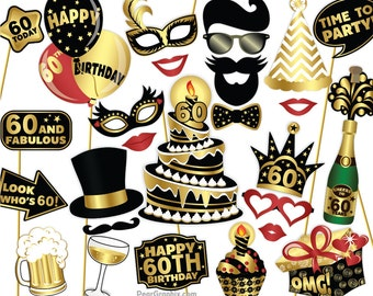 60th Birthday Photo Booth Props DIY / Sixtieth Birthday Party Photobooth Props / Colorful Black and Gold / Printable PDF ▷ Instant Download