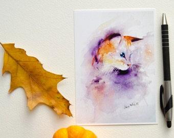 Purple and orange cat postcard, print postcard