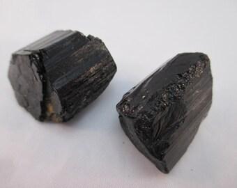 Black Tourmaline Rough - Set of 2 - Medium - Balance, Grounding, Anchor, Protection, Chakra, Aura, Healing - Crystal Cave