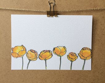 Yellow Buttercups Postard - Illustration - Flowers