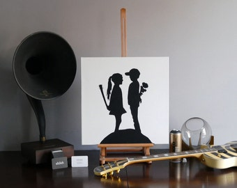 Boy Meets Girl - Spray Paint on Canvas - Banksy Canvas - Repro (not a print)