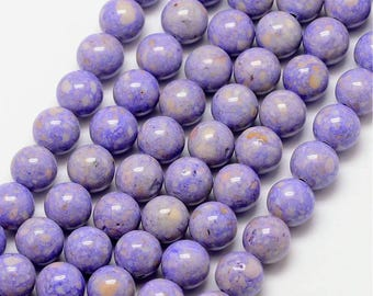 16 Inch Strand - 6mm Round Lilac Fossil Beads - Light Purple - Lavender - Gemstone Beads - Jewelry Supplies