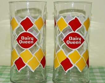 Vintage Dairy Queen Drinking Glasses, 2 Tall Dairy Queen Tumblers, 1980's Retro Red & Yellow DQ Beverage Glasses, Dairy Queen Pop Glasses