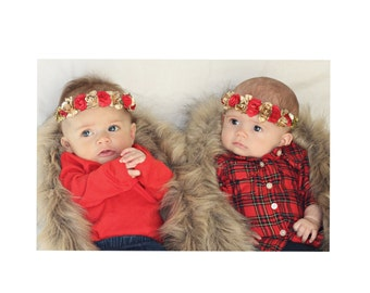 Red,gold floral down/floral halo/headband