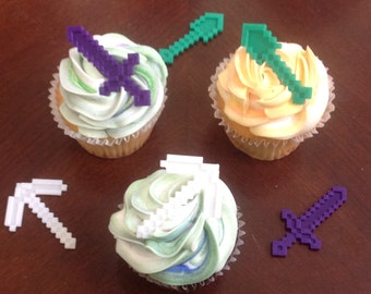 Pixelated Miner Cupcake Toppers