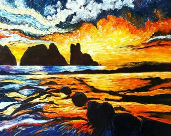 Fiery Ocean Fantasy Oil & Palette Knife Painting