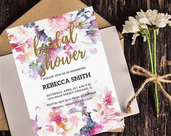 Floral Bridal Shower Invitation, Watercolor, Printable Invite