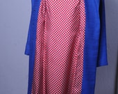 late 1960s Fred Rothschild mid mod set, Red & WHite Gingham dress with matching royal blue coat, true vintage, diamond novelty print