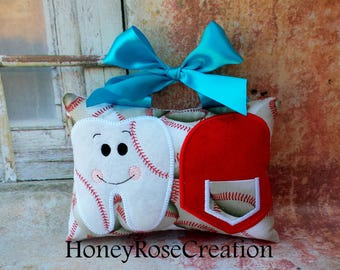 Baseball tooth fairy pillow.Embroidered tooth fairy pillow.