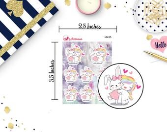 Cuteness Overload - Unicorn Hugging a Bunny - Bunny Stickers - Unicorn Stickers - Happy Planner - Life Planner - Planner Stickers - ECLP