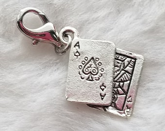 Blackjack Playing Card Pewter Charm - Clip-On - Ready to Wear