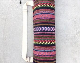 Handmade Thai Tribal 100% Woven Cotton Yoga And Pilates Mat Bag Carrier