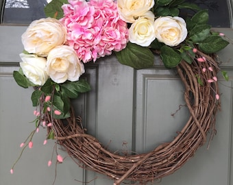 Spring grapevine floral wreath with hydrangeas and roses, year round front door wreath, door wreath, spring wreath, hydrangea wreath