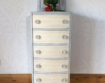Now Sold. Lingerie chest of drawers hand painted shabby chic