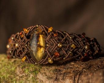 Amber bracelet  // Amber jewelry // Macrame Jewelry // Mexican amber // Micromacrame