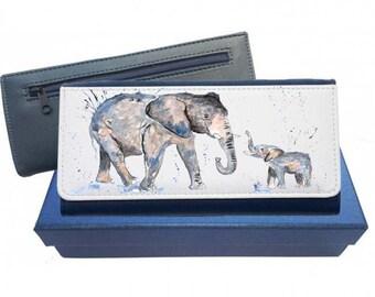 Elephant purse, navy purse, pink purse, leather purse, elephant gift, elephant wallet, elephant leather purse, elephant family