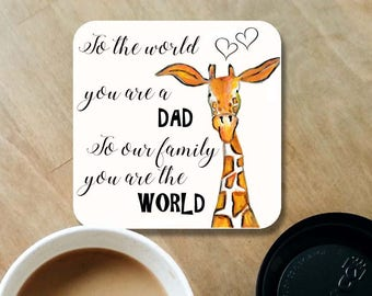 Dad coaster, daddy coaster, wooden coaster, dad gift, table coaster, drink coaster, giraffe coasters, daddy gift, father's day