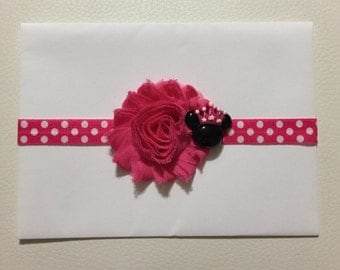 Hot Pink Minnie Mouse Headband ,Minnie Mouse Baby Headband ,Baby Headband ,Hot Pink Polka Dot Headband, Princess Minnie Mouse Headband