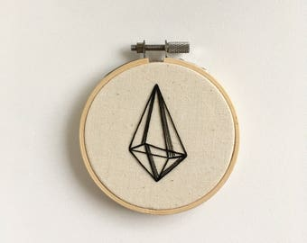 Small Geometric Black and White Hand Embroidery
