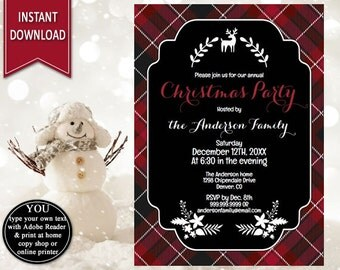 Plaid Christmas Invitation | Christmas Party Invitation, Holiday Invitation, Holiday Party, Christmas Invite, Scottish Invites