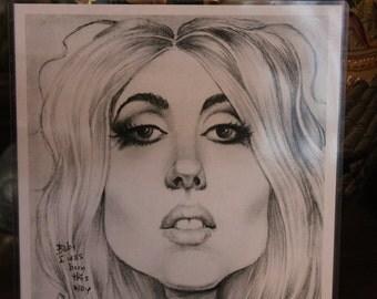 Lady Gaga caricature art print