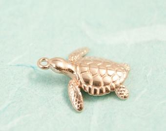 1x turtle charm rosegold pl. 20mm #4000
