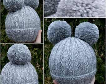 Double Pom Pom Hats: double pompom hat- bobble hat- made to order- winter- cold- snow- adults- children- 8 POUNDS-any colours- style 1 or 2-