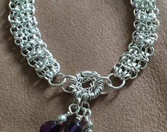 Handmade Genuine Purple Amethyst Crystal Stone Silver Dream Catcher Chainmaille charm Linked Beaded Bracelet jewelry
