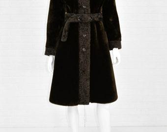 1960's Vintage Women's S Brown Borg Sherpa Long Princess Coat Borgana Designer