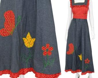 70's Vintage Women's XS Novelty Maxi Dress Ruffled Western Denim Appliques Jerell Texas