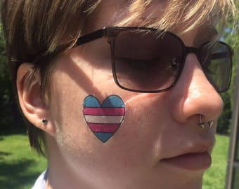 Transgender Flag Heart Temporary Tattoo